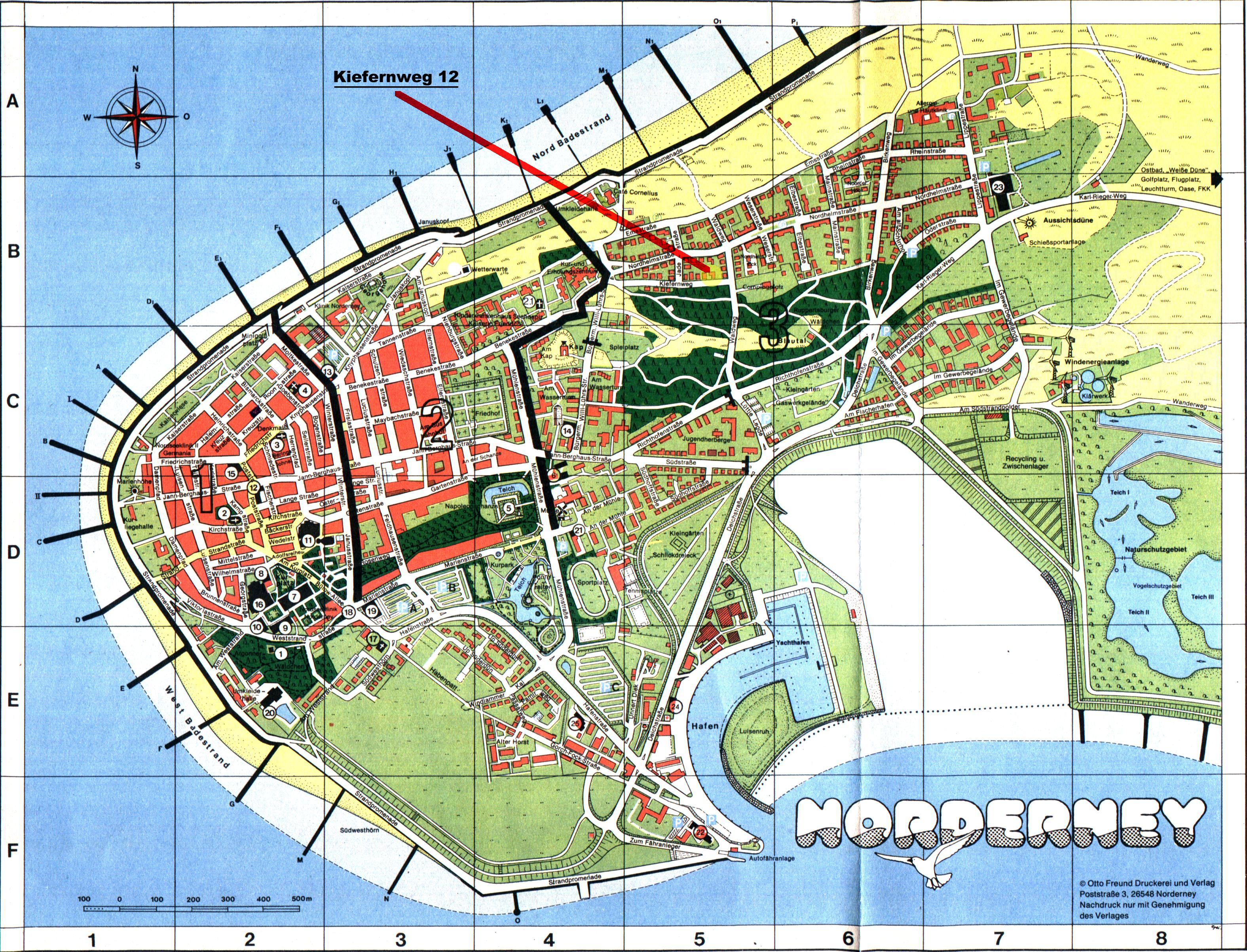 Norderney Karte Straßen.Anreise Ortsplan